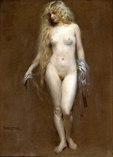 "Tadeusz Styka, (1889-1954). ""Blonde Beauty With a Transparent Veil""."