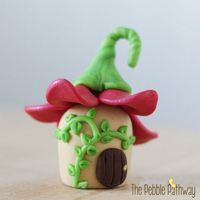 Tiny Fairy House with Pink Flower Roof