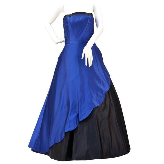 Chris Kole Cobalt and Black Strapless Evening Gown 1