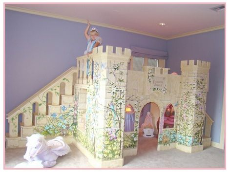 Fairytale princess castle playhouse loft bed custom for Castle bedroom ideas