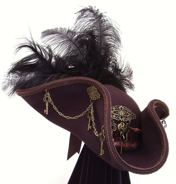 Key Keeper brown  brass steampunk tricorn hat