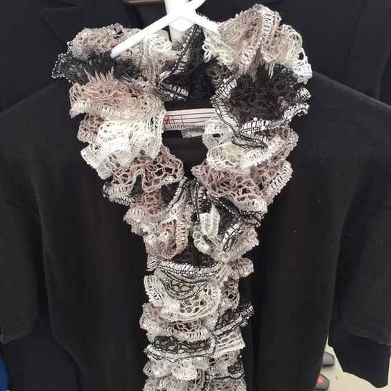 Black Silver & Beige Ruffle Scarf Hand knitted black, silver & beige ruffle scarf. Accessories Scarves & Wraps