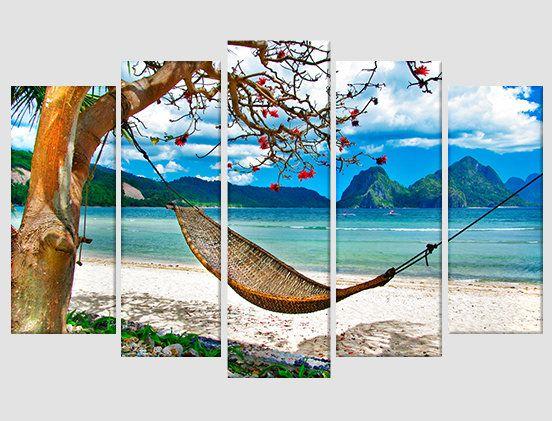 Tropical Beach Hammock Window View Color Wall Sticker Wall Mural Print