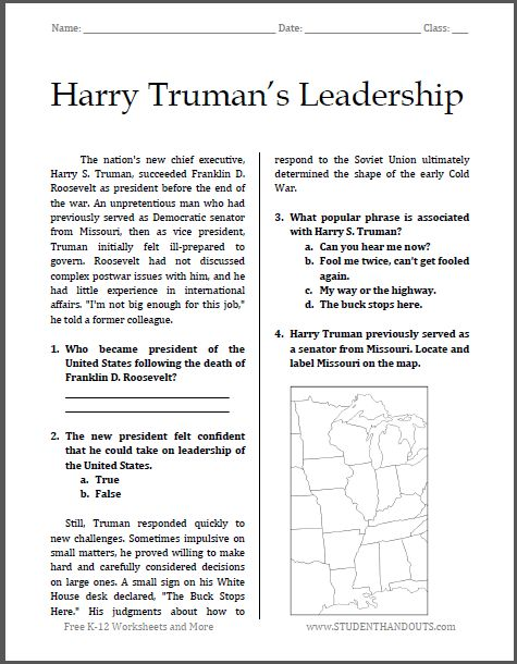 Printables Free Printable High School Worksheets harry trumans leadership free printable worksheet for high school american history students