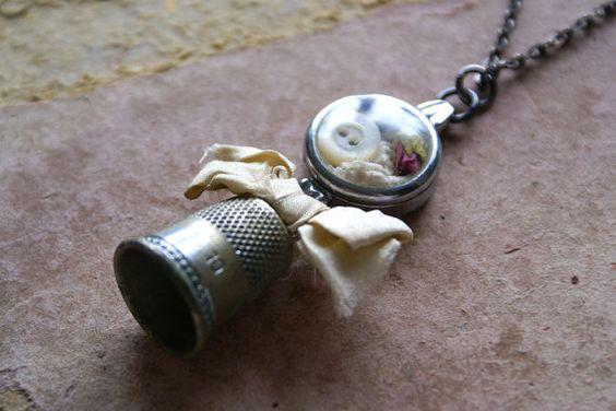 Mixed Media Vintage Thimble Watch Case Charm by HomespunIreland, $30.00