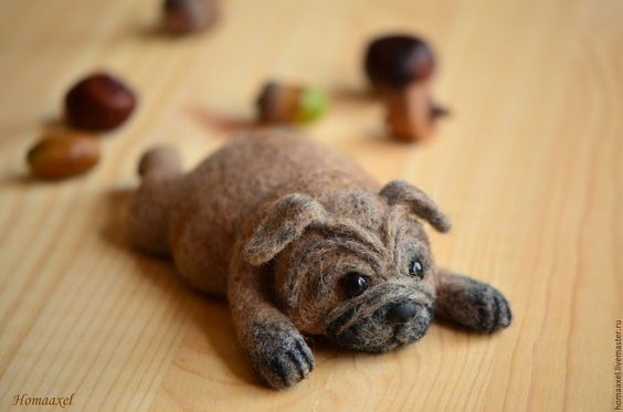 Needle felted Pug by Krupennikova Oxana.