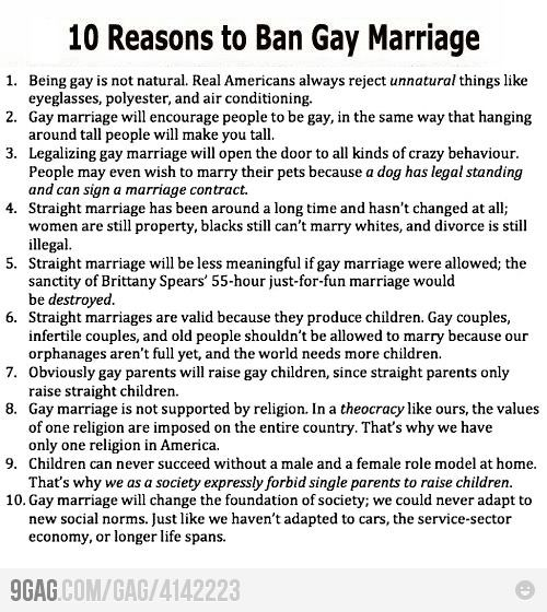 10 Reasons to Ban Gay Marriage Gay, Sarcasm and Satire - marriage contract