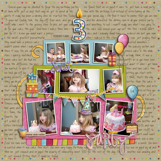Scrapping birthdays Idea #2 - tell the story with photos (love how they're in a cake shape) and make the journalling your back ground pattern.