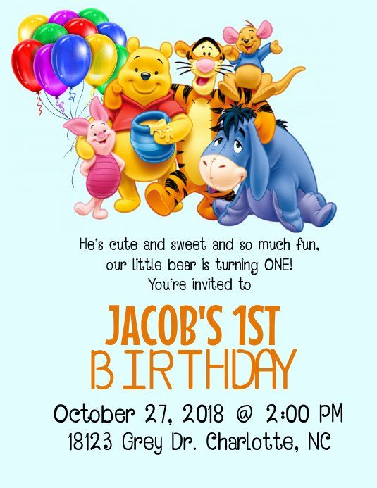 Winnie The Pooh Birthday Invitations Inspirational Winnie The Pooh Birthday Invitat In 2020 Boy Birthday Invitations Birthday Invitation Templates Birthday Invitations