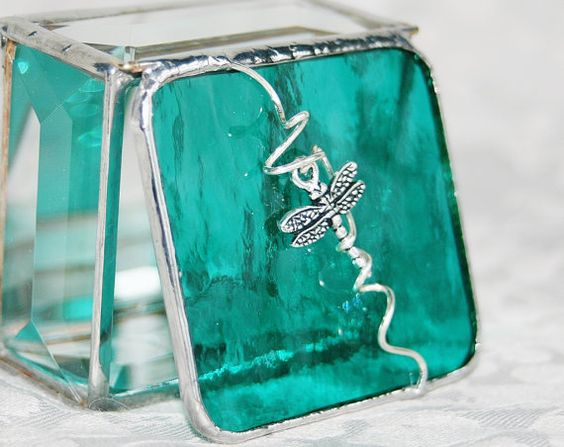 Stained Glass Ring Box in beautiful jewel-tone teal with dragonfly accent.