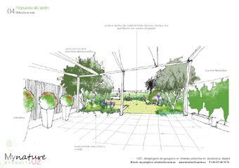 Croquis vista propuesta de dise o de jardin dibujos for Croquis jardin