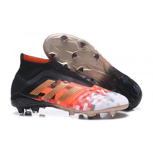 Blanco Naranja Negro 2018 Botas de fútbol Adidas Predator
