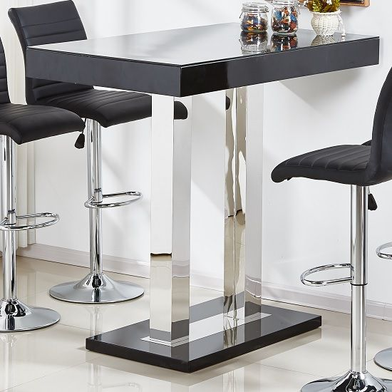 Caprice Glass Bar Table In Black And Stainless Steel Support Furniture In Fashion Glass Bar Table Glass Bar Bar Table