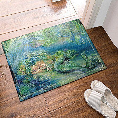 Nymb The Mermaid In Green Seaside Bath Rug Non Slip Floor