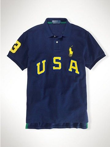 Ralph Lauren Men's Navy Big Pony Pink Polo