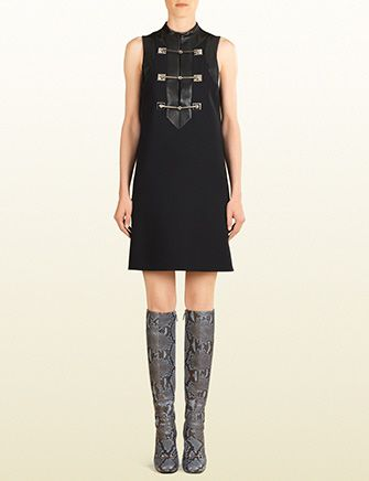 GUCCI Horsebit And Leather Sleeveless Dress