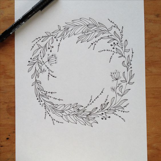Wreath Drawing Pen amp Ink Maijarebeccacom Wedding Inspiration Pinterest Middle Floral