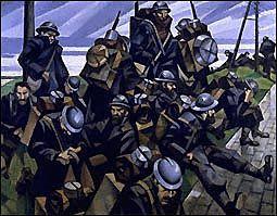 C. R. W. Nevinson, French Troops Resting (Französische Truppen bei der Rast), 1916, Öl auf Leinwand, 71 x 91,5 cm, Imperial War Museum, London.  © Imperial War Museum.  © Anne Patterson.