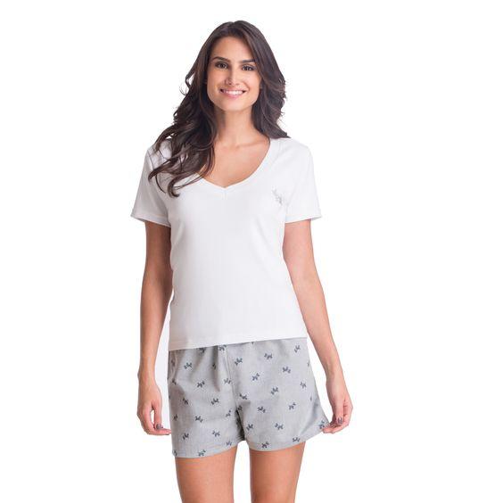 Pijama Lupo - Short Dog com aplicação de strass - 24008-001