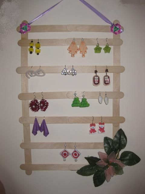 Ice cream sticks earring holders and sticks on pinterest for How to make things out of sticks