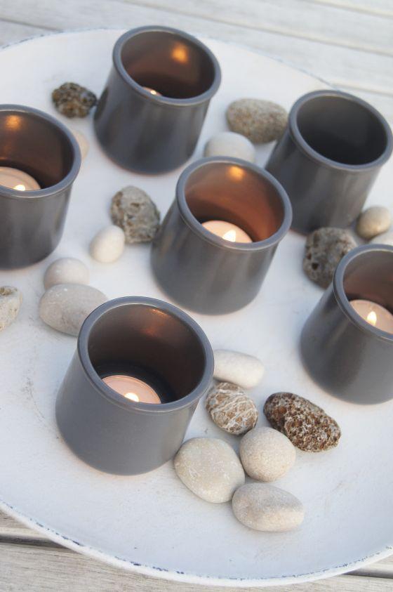 Bougies dans des pots de yaourt en terre cuite maill e bougoir pinterest pots de yaourt - Pot en terre cuite emaillee ...