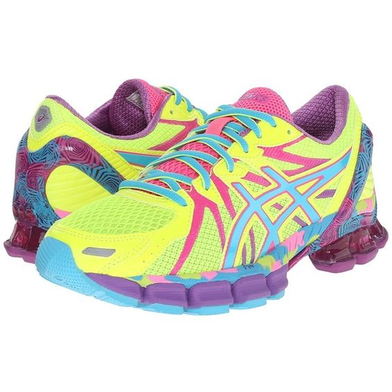 ASICS Gel-Sendai 3 (Flash Yellow/Turquoise/Hot Pink) Women's Running... (185 CAD) ❤ liked on Polyvore featuring shoes, athletic shoes, breathable shoes, lightweight running shoes, lace up shoes, lightweight shoes and cushioned shoes