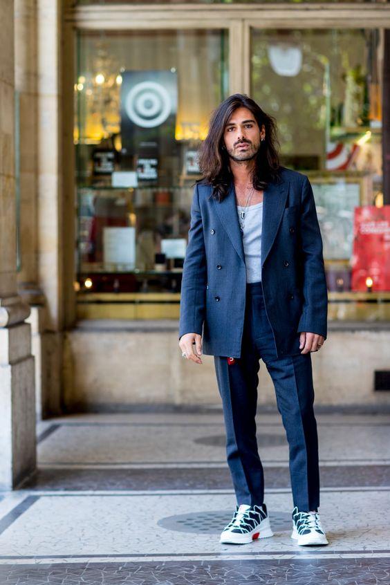 スーツ×スニーカー海外メンズコーデSuits With Sneakers Was the Outfit of Choice at Paris Fashion Week Men's - Fashionista