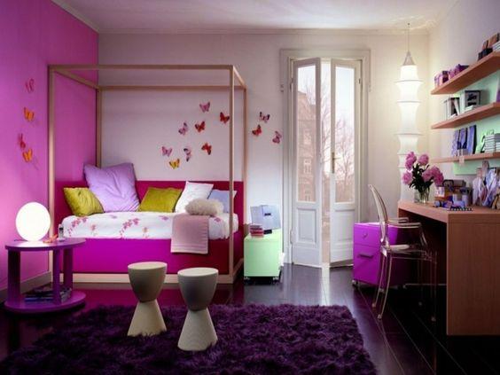 lila teppich wohnideen kinderzimmer rosa wände mädchenzimmer ... - Kinderzimmer Rosa Wand
