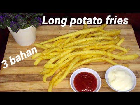 Cuma 3 Bahan Buat Long Potato Fries Tanpa Alat Youtube Makanan Sehat Kentang Goreng Ide Makanan