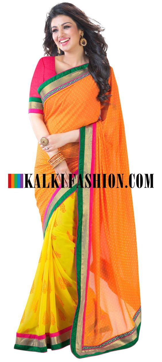 Buy Online from the link below. We ship worldwide (Free Shipping over US$100) http://www.kalkifashion.com/half-and-half-printed-saree-in-orange-and-yellow.html Half and half printed saree in orange and yellow