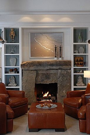 Stoe fireplace PLUS built in cabinets!