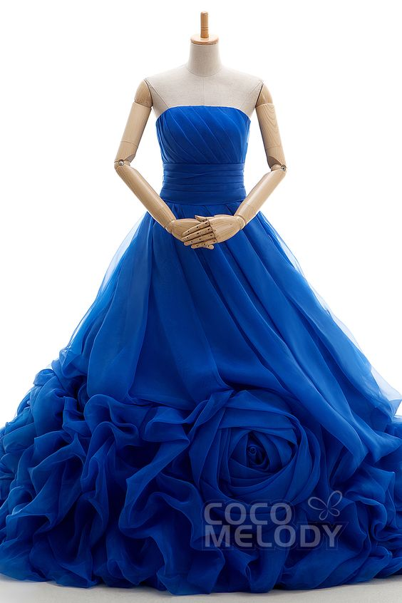 New+Design+A-Line+Strapless+Natural+Court+Train+Organza+Royal+Blue+Sleeveless+Lace+Up-Corset+Wedding+Dress+Pleating+VJ0176