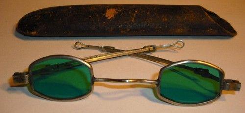 Antique Eye Glasses Aqua Sun Glasses Case Civil War Era Sliding Temple Great | eBay