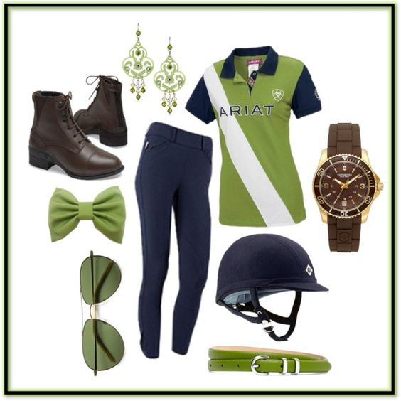 Cute Schooling Outfit by pete-is-my-horse on Polyvore featuring Ariat, Victorinox Swiss Army, Tarina Tarantino, Oliver Peoples and Brooks Brothers