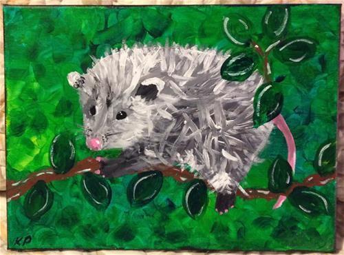 """Opossum, Totem Animal"" - Acrylic - Original Fine Art for Sale - © Kali Parsons - http://kaliparsons.blogspot.com"
