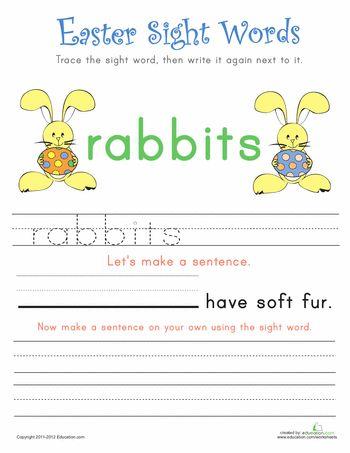 Worksheets: Easter Sight Words #2