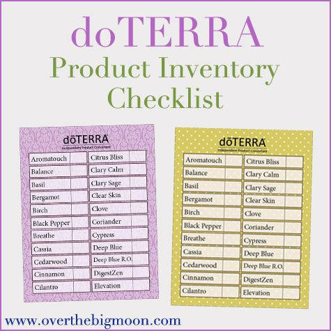 The list has ALL doTERRA products, with the Essential Oils in - inventory sheets printable
