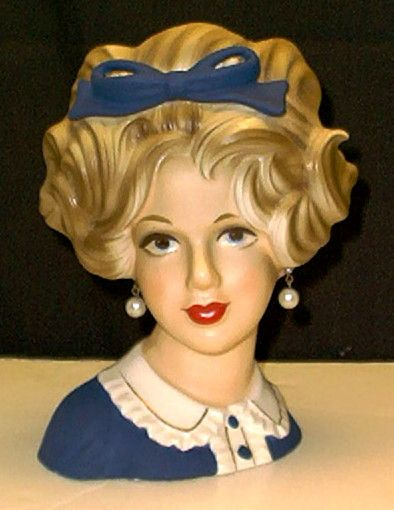 Lady Head Vase Giving Head Pinterest Vintage Vase And Blue Bow