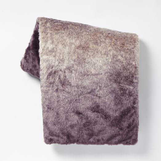 Faux Fur Dip Dye Throw, Dark Iris