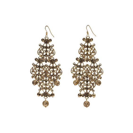 H&M Gold Chandelier Earrings ❤ liked on Polyvore featuring jewelry, earrings, accessories, gioielli, jewels, chandelier earrings, yellow gold earrings, gold jewellery, gold earrings and chandelier jewelry