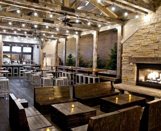 Natural materials fireplaces and restaurant on pinterest