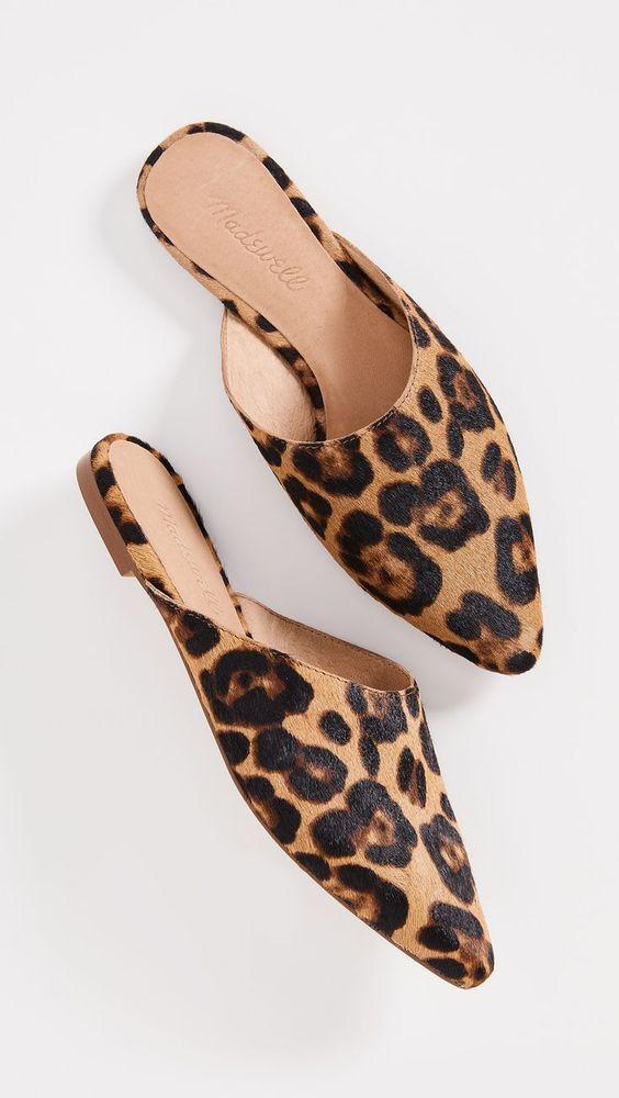 Leopard Print Point Toe Iris Mules