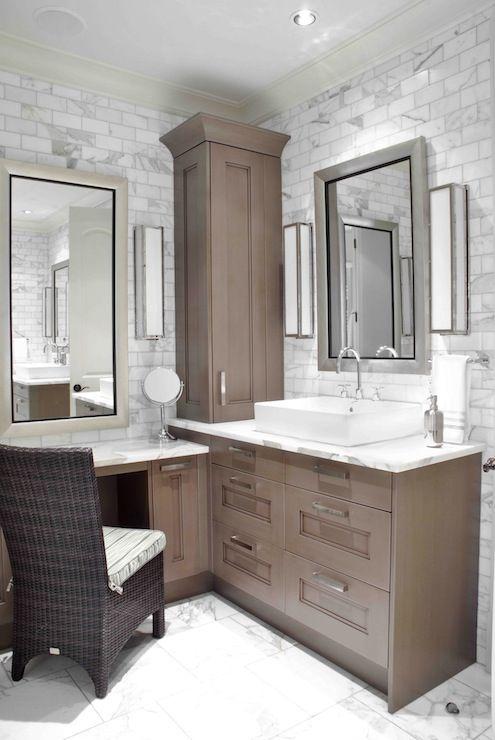 Design Galleria Custom Sink Vanity Built Into Corner Of Bathroom Lower Make Up Area With