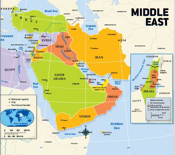 This is a political map of the Middle East. It Shows the ...