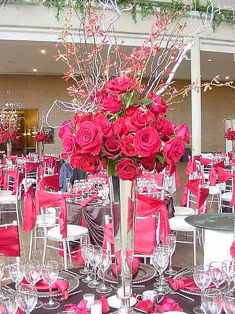 Wedding centerpiece photos tall red rose and orchid