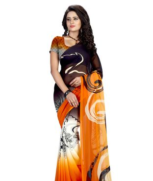 Heena Orange & Black Geometric Print Georgette Saree | I found an amazing deal at fashionandyou.com and I bet you'll love it too. Check it out!
