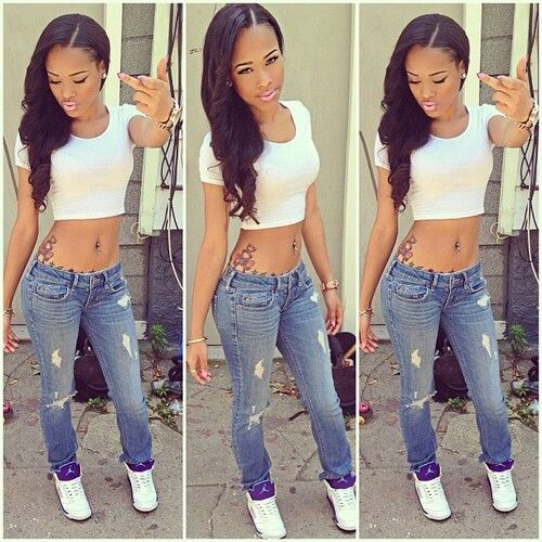 Pretty Girl Swag Dope Denim Blue Jeans White Crop Top Jordan Fashion Style Beauty Caramel Lightie