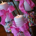 hurricane vase and sweetheart candies   Adorable