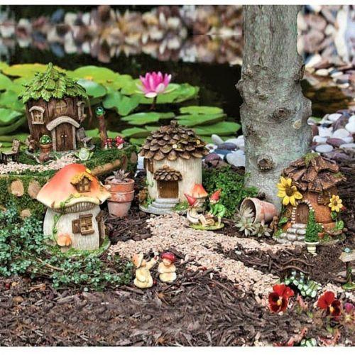 Fairy Village Garden Decor Gnome Cottage Houses Fairy Garden Furniture Fairy Garden Diy Miniature Fairy Gardens