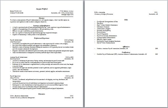 Payroll Administration Resume Administrative Resume Samples - elevator repair sample resume